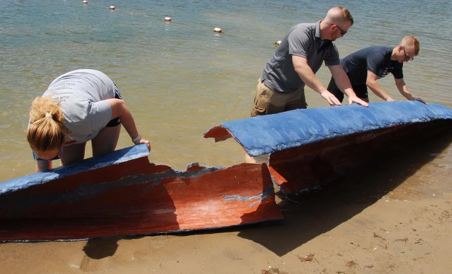 ASCE concrete canoe prepared for disposal